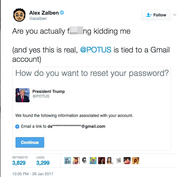 trump 1 - President Donald Trump's Twitter Account Linked To a Private Gmail Account
